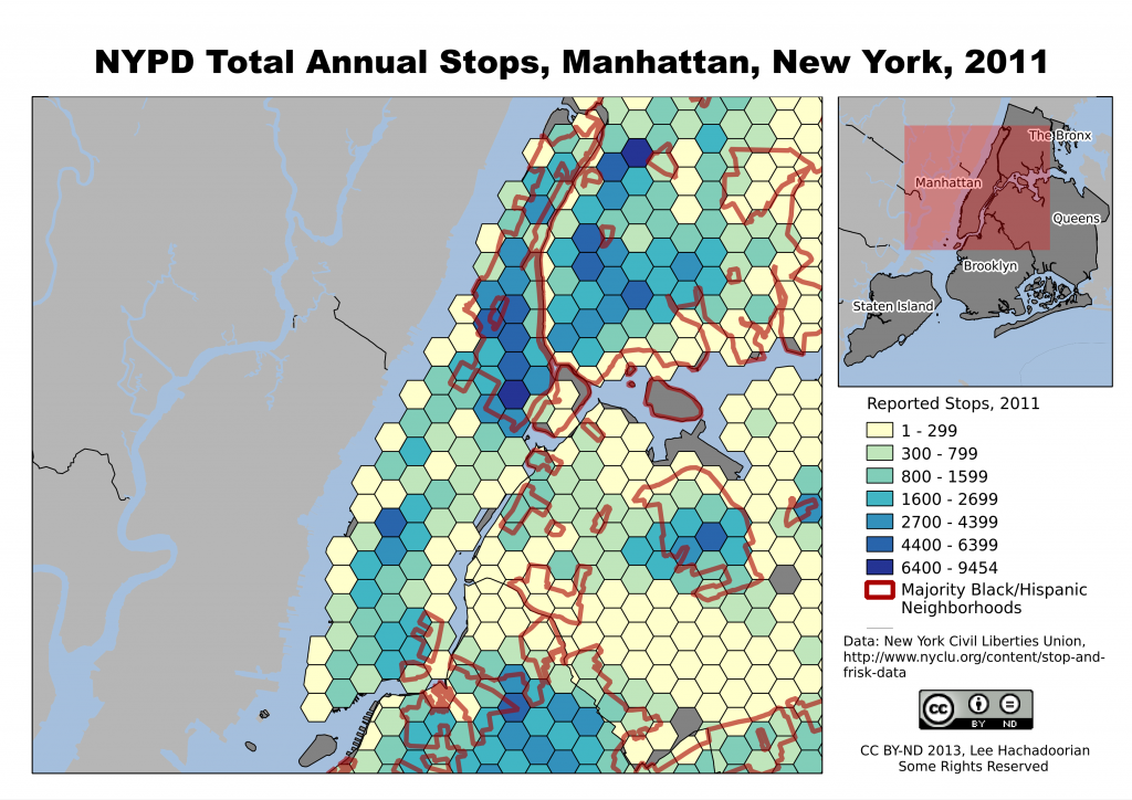 Manhattan, with its high daily influx of nonresidents for employment, shopping, and commercial activities, has high numbers of NYPD stops throughout the borough.