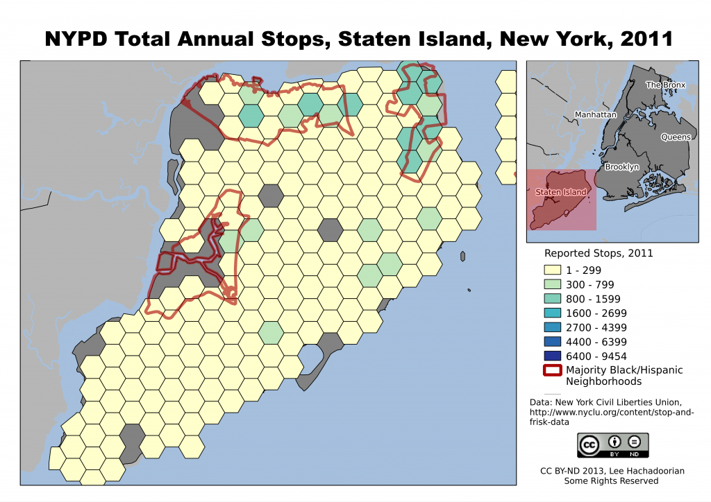 Staten Island's population is more White, and subject to fewer police stops.