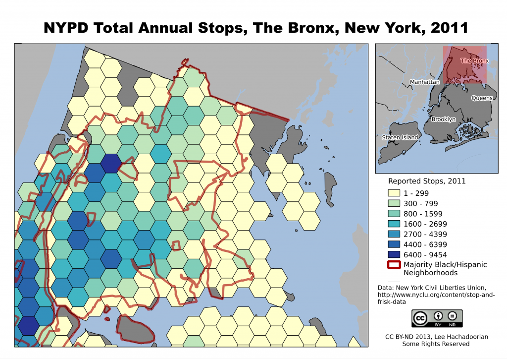 The Bronx is heavily Black and Latino, and shows a high number of NYPD stops over much of the borough.